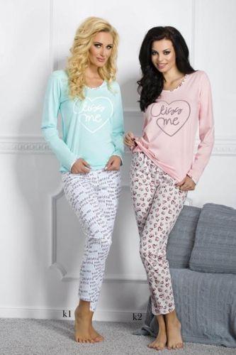 Tyrkysové dámske pyžamo Gabi 211 vzor k1
