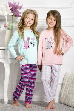 Tyrkysové dievčenské pyžamo WIKA so zajačikom