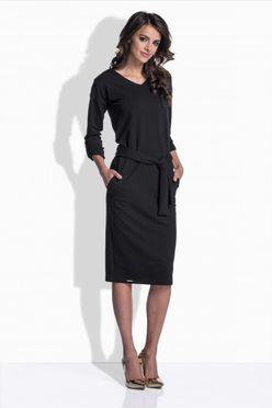 Vypasované bavlnené šaty v čiernej farbe 157