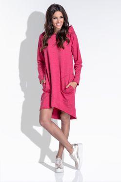 Vzadu predlžené dámske šaty s kapucňou v ružovej farbe F433