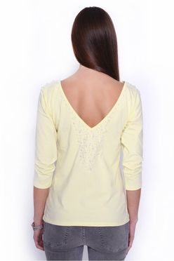 Žlté dámske tričko s perlami OX2899