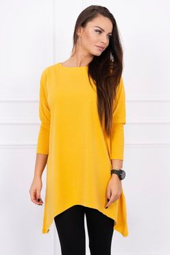 Žlto horčicové predĺžené dámske tričko oversize K13274