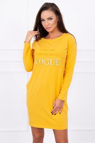 Žlto horčicové šaty s dlhým rukávom a vreckami K13271
