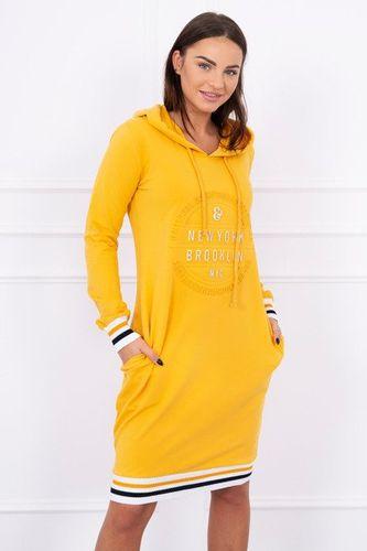 Žlto horčicové športové šaty s kapucňou a vreckami Broklyn K13389