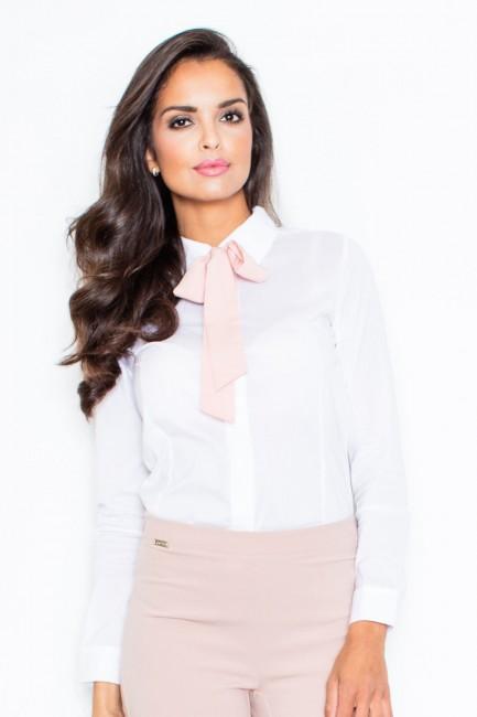 a79b70d48751 Bielo-ružová dámska košeľa FG M180 - JOIE.SK