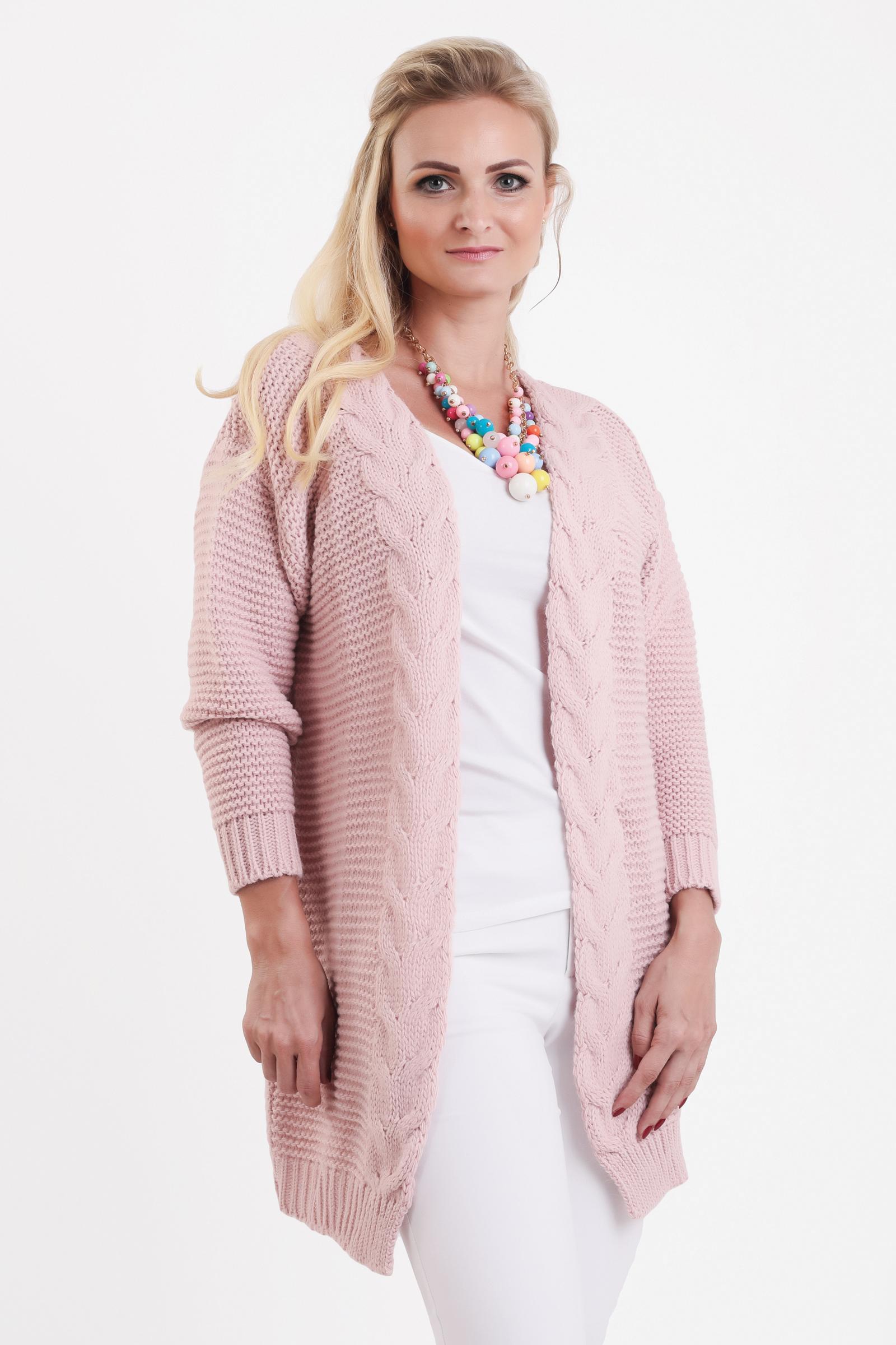 a7b6a60294a6 Ružový pletený dámsky sveter HENA - JOIE.SK