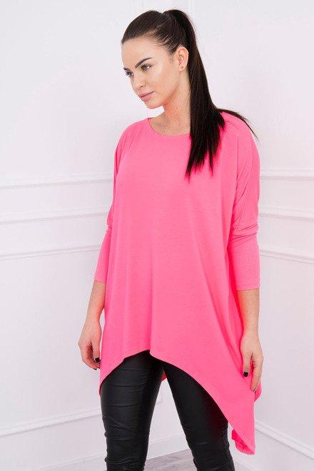 df0f6b55754d Ružové predĺžené dámske tričko v ružovej farbe K12213 zväčšiť obrázok