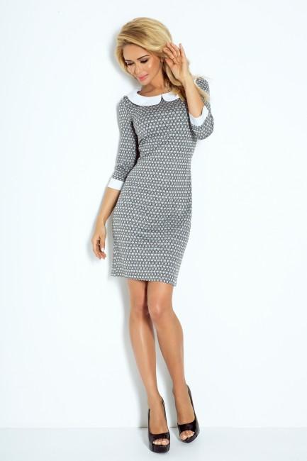 a01e342c340a Sivé dámske šaty s bielym golierom zväčšiť obrázok