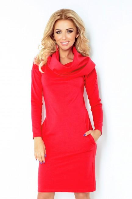 Dámské šaty s golierom v červenej farbe 131 4 - JOIE.SK 92a4235c884