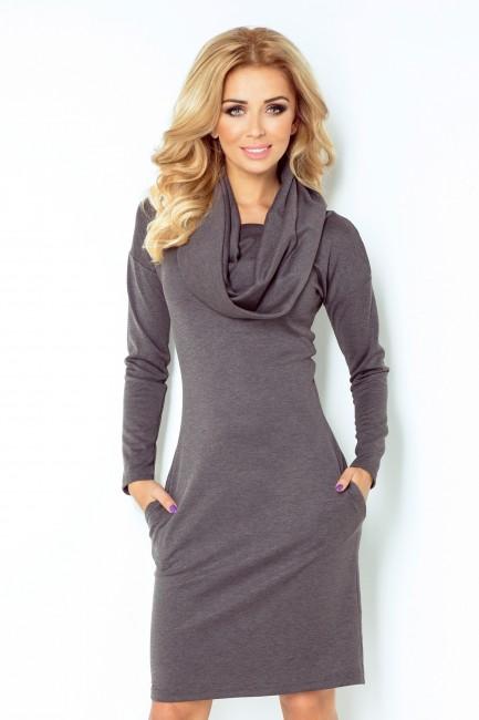 2ac0bac035d0 Dámske šaty s golierom v šedej farbe 131 3 - JOIE.SK