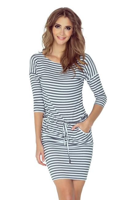 Krátke letné šaty so šedými pásikmi 13 54 - JOIE.SK 403d0b03ad2