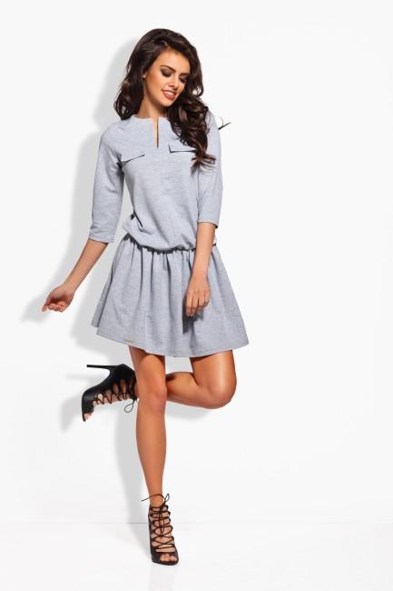 416b6ad3b0b0 Elegantné šaty. Šedé dámske šaty s imitáciou vreciek L126