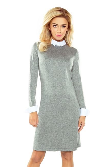 687c72c825d0 Sivé biznis šaty s bielym golierom 167-1 zväčšiť obrázok