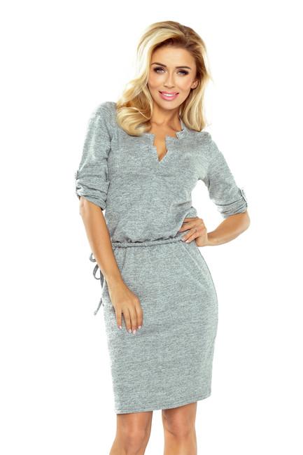 db12ad88aac6 Sivé dámske šaty s golierom a uväzovaním 161-3 - JOIE.SK