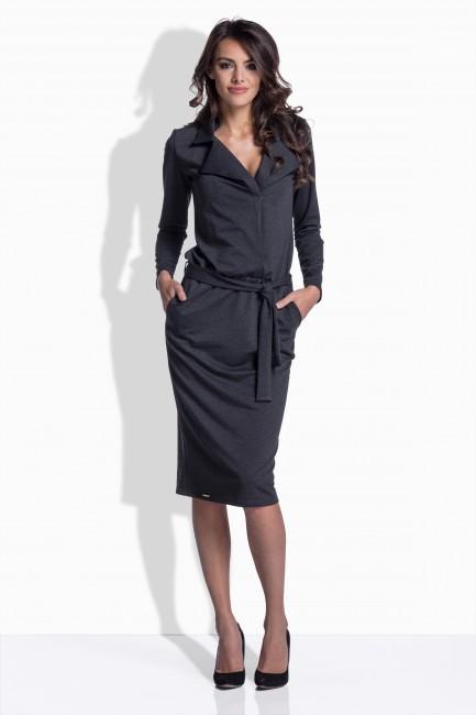 Sivé bavlnené šaty s opaskom 161 - JOIE.SK a39eaa1f96b