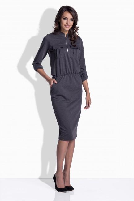 6095e0f8ebc4 Sivé bavlnené šaty so zipsom 160 - JOIE.SK
