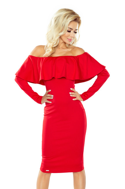 8c914ef7c934 Elegantné šaty. Slávnostné červené šaty s volánom ...