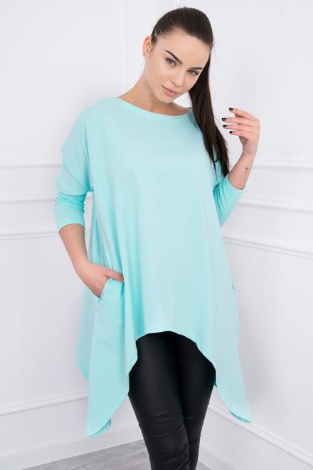 Svetlo modré predĺžené dámske tričko oversize K12214 - JOIE.SK c39b2f173e5