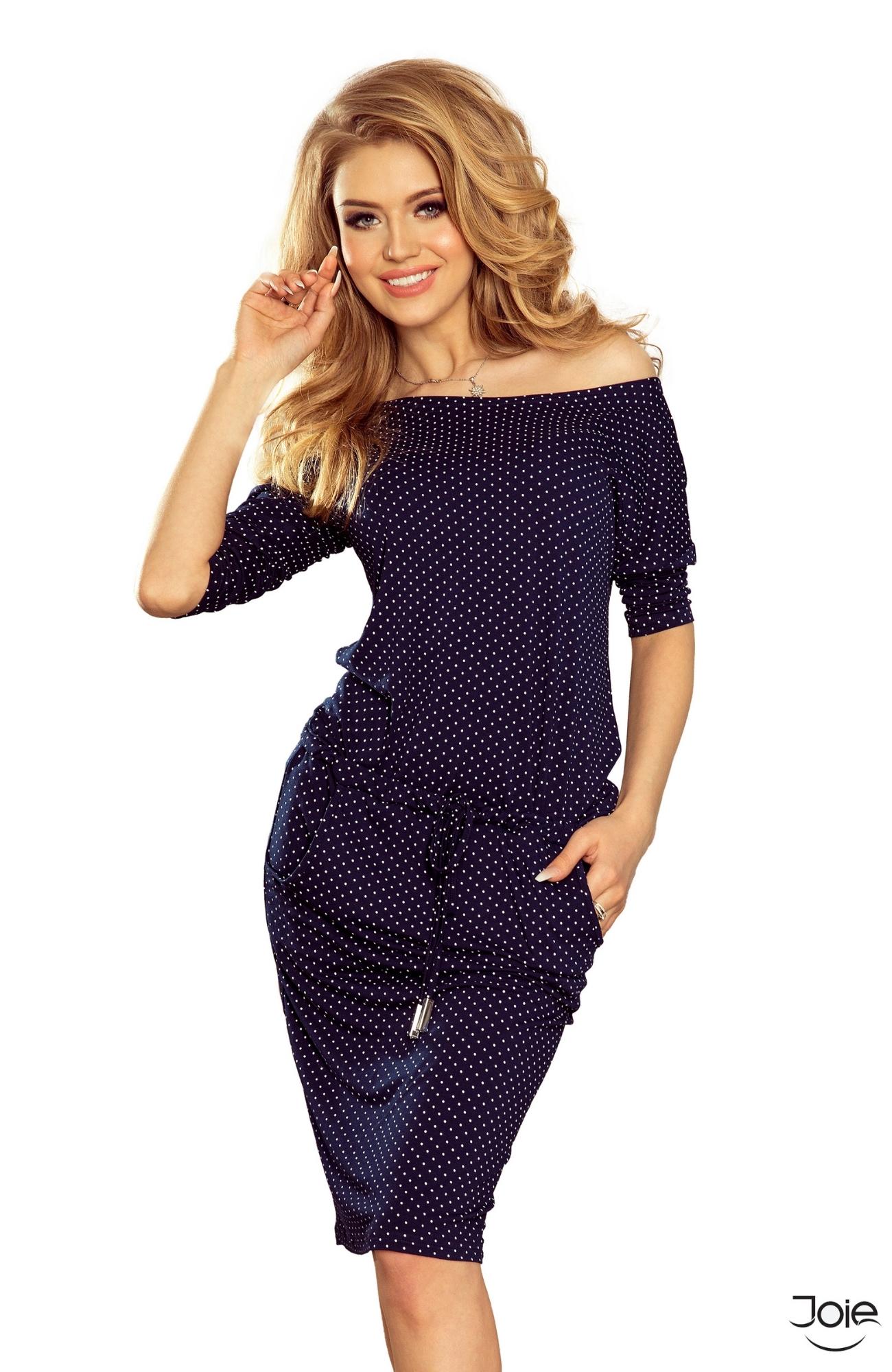 10fc3c887187 Tmavomodré krátke bodkované šaty 13-89 zväčšiť obrázok