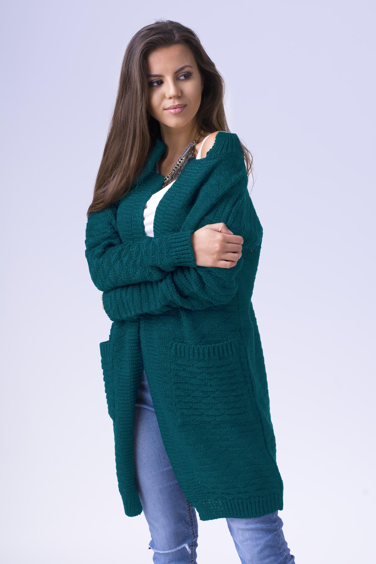 5e999f393fc0 Tmavozelený dámsky sveter s vreckami SOFFIA zväčšiť obrázok
