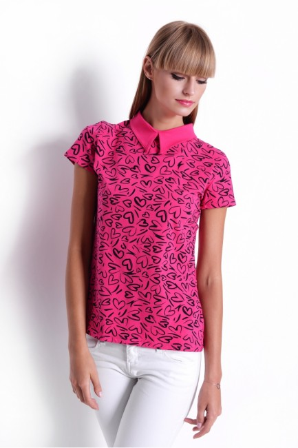 f0a94fa84698 Ružové dámske tričko so srdiečkami OX2470 - JOIE.SK