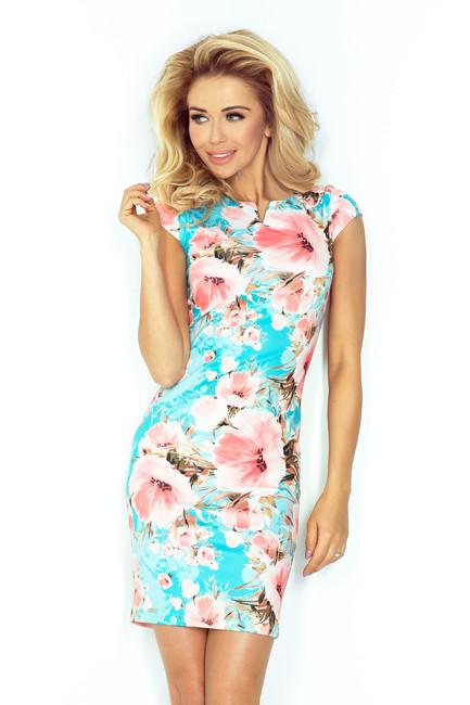 dc4b06b99e1d Tyrkysové mini šaty s potlačou ruží 132 8 - JOIE.SK