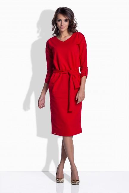 6fb431cd6390 Vypasované šaty v červenej farbe 157 - JOIE.SK