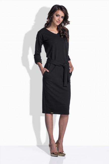 0d8b1d90f680 Vypasované bavlnené šaty v čiernej farbe 157 zväčšiť obrázok