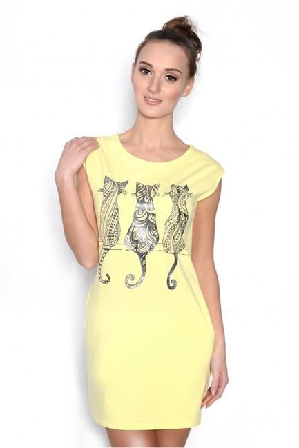Športové šaty. Žlté minišaty s mačkami 5713 zväčšiť obrázok f67bf67023c
