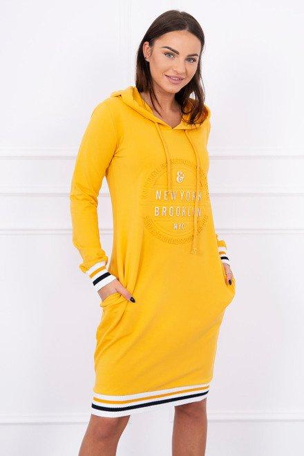 fb2530245fc2 Žlto horčicové športové šaty s kapucňou a vreckami Broklyn K13389 ...